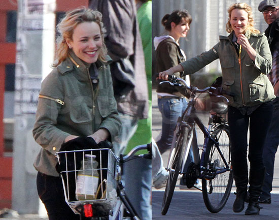 Rachel Mcadams riding her bicycle in Toronto Canada