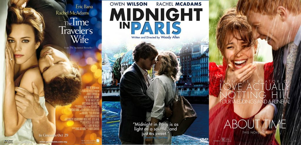Rachel McAdams in three movie where she plays the partner of a time traveller – The Time Traveler's Wife (2009), Midnight In Paris (2011) and About Time (2013).