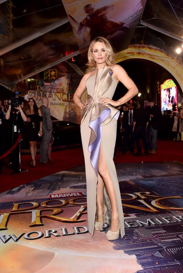 Rachel is a showstopper in Atelier Versace gown at the Hollywood premiere of Doctor Strange