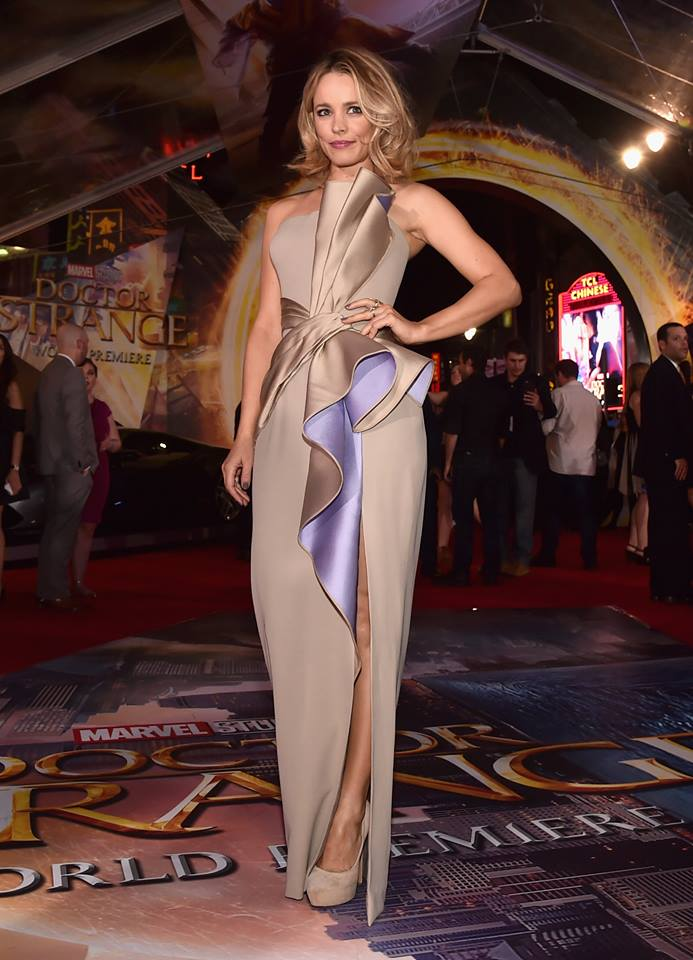 Rachel looks divine in this asymmetrical taupe gown